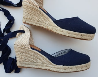 NAVY ESPADRILLE WEDGES - Lace Up Pumps - made in Spain - ecologic, vegan, made in Europe