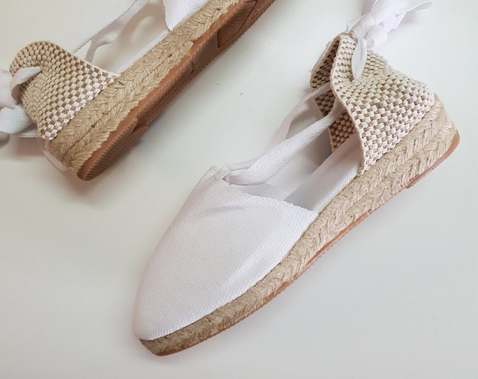 LaCe-Up ESPADRILLES - MiNI WEDGES - organic vegan sustainable - Lace Up  (3cm - 1.18i) - White - Made in Spain