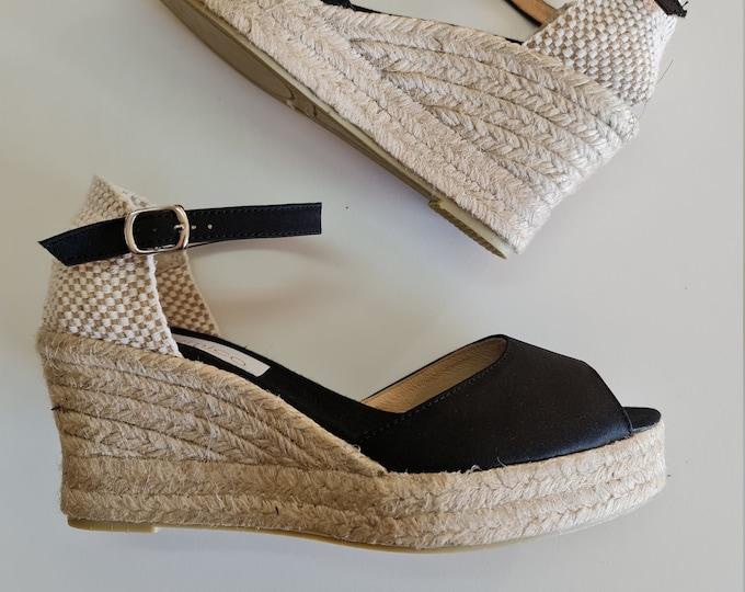 Ankle strap Espadrille Platform Wedges - peep toes - BLACK SATIN- Made In Spain