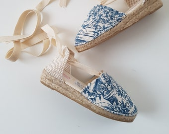 ESPADRILLE WEDGES - organic vegan sustainable - Lace Up (3cm - 1.18i) - ToILE De JoUY - Made in Spain