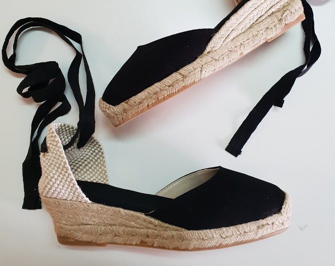 ESPADRILLES WEDGES PUMPS - organic vegan sustainable - Lace Up  (5cm - 1.97i) - front stitching/ black - Made in Spain