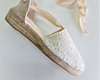 ESPADRILLE MINI WEDGES - organic vegan sustainable - Lace Up (3cm - 1.18i) - Off WhITE LaCE - Made in Spain