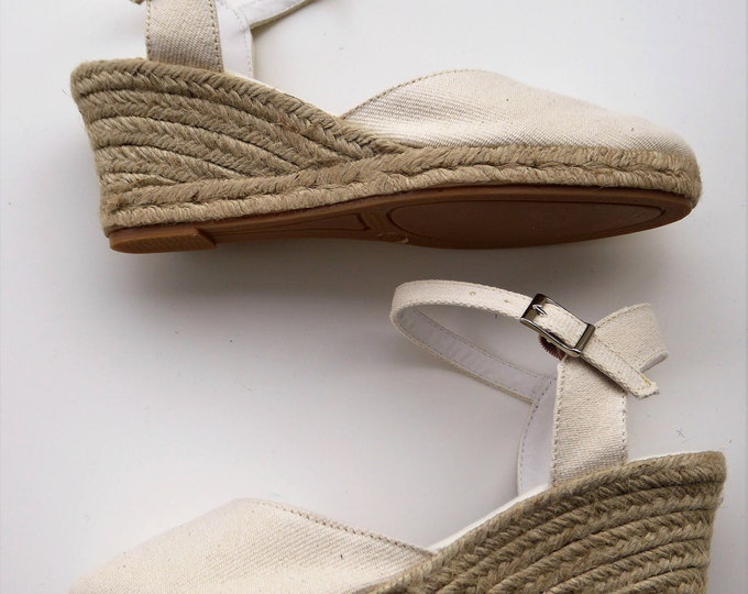 ANKLE STRAP espadrille wedges - IVORY - made in Spain - www.mumicospain.com
