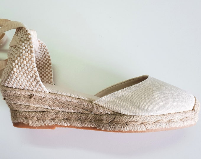 Featured listing image: ESPADRILLES WEDGES - PUMPS - organic vegan sustainable - Lace Up  (5cm - 1.97i) - front stitching/ ivory - Made in Spain