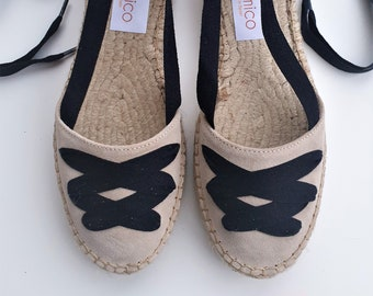 Lace Up Espadrilles FLATFORMS - SAND PAYESAS - Handmade In Spain - www.mumicospain.com