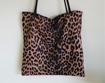 Special prices: Light cotton market bag. LEOPARD PRINT - 37cm x 39cm