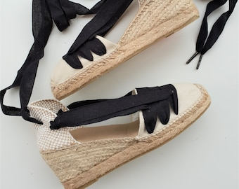 Lace Up Espadrilles Wedges - PAYESAS - Handmade In Spain - www.mumicospain.com - traditional, vegan, comfy