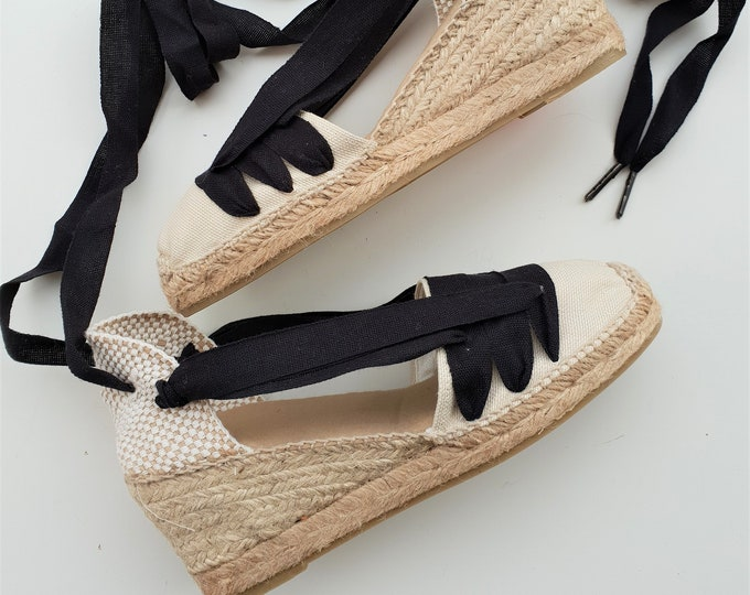 Featured listing image: Lace Up Espadrilles Wedges - PAYESAS - Handmade In Spain - www.mumicospain.com