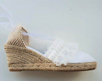 Lace-up espadrille wedges 7cm - BRIDES collection - RUFFLE TRIM - made in Spain - www.mumicospain.com