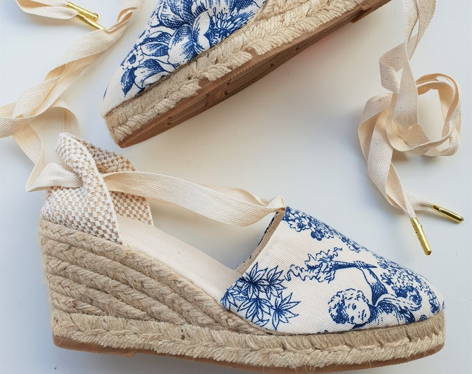 Featured listing image: Lace-up espadrille wedges - TOILE de JOUY COLLECTION - made in spain - ecologic, vegan, sustainable