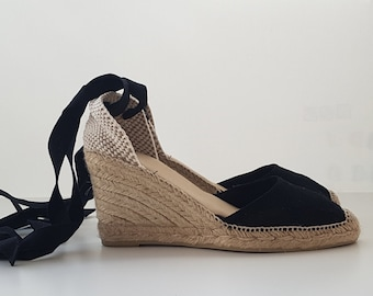 VEGAN ESPADRILLE WEDGES - Black rustic pumps - Made in Spain - ecologic, sustainable