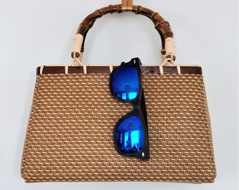 Rattan and bamboo basket handbag -  JAPANESE VINTAGE BASKET - www.mumicospain.com
