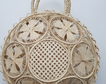 Iraca palm handbag -  NATURAL IRACA PALM basket bag - handmade in Colombia
