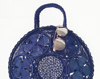 Iraca palm handbag -  BLUE IRACA PALM basket bag - handmade in Colombia