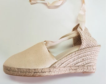 Lace Up Espadrille wedges (7cm-2.76i) -  NO STITCHING / IVORY - Made In Spain - www.mumicospain.com