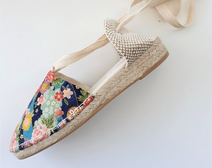 ESPADRILLE WEDGES - organic vegan sustainable - Lace Up (3cm - 1.18i) - JAPANESE Collection - Made in Spain