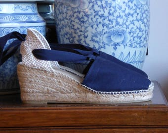 Lace up espadrille wedges - RUSTIC - visible seam NAVY - made in spain - www.mumicospain.com