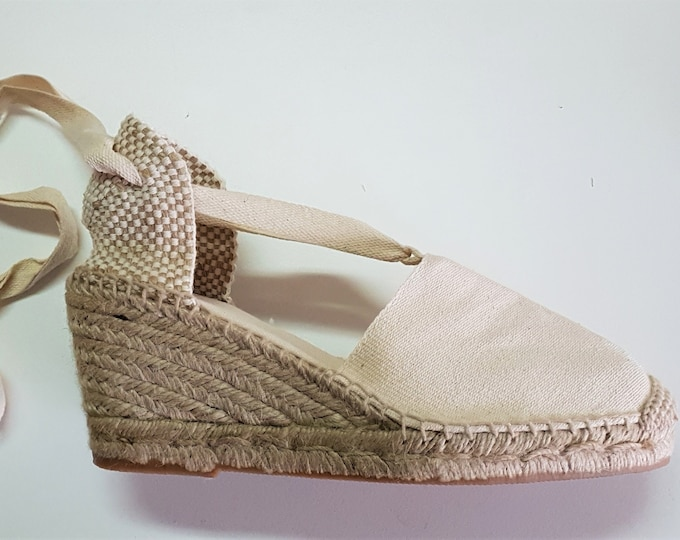 Lace Up espadrille high wedges (7cm-2.76) - VISBLE SEAM / IVORY - made in spain - www.mumicospain.com