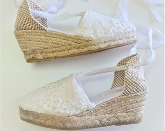 Lace-up espadrille 6.5cm (2.56i) wedges - LACE - made in Spain - www.mumicospain.com