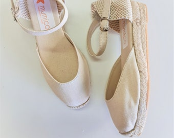 Espadrilles for girls - ankle strap mini wedges - ivory linen - made in spain