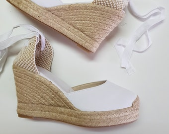 Lace Up Espadrille Wedge Pumps - WHITE PUMPS with PLATFORM - made in Spain - www.mumicospain.com