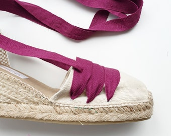 Lace Up Espadrilles Wedges - PAYESAS with COLOURED LACES - Handmade In Spain - www.mumicospain.com - traditional, vegan, comfy