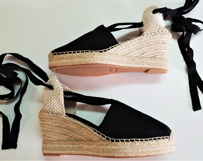 Lace Up espadrille high wedges with PLATFORM (8cm-3.15i) - VISIBLE SEAM / black - Made in Spain - www.mumicospain.com