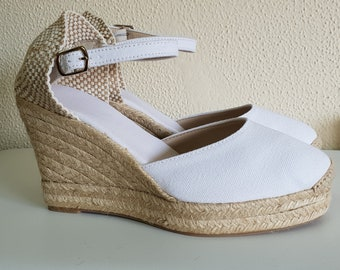 Ankle strap Espadrille Platform Wedges - WHITE PLATFORM PUMP- Made In Spain - www.mumicospain.com