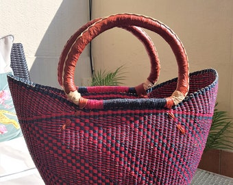 Elephant grass African Shopper - 50cm x 37-39cm x 20-23cm -BOLGA BASKET SHOPPER - made in Ghana - www.mumicospain.com
