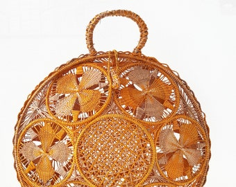 Iraca palm handbag -  ORANGE IRACA PALM basket bag - handmade in Colombia