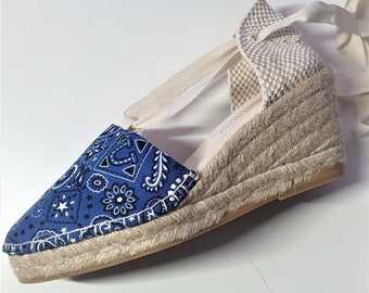 ESPADRILLE WEDGES - organic vegan sustainable - Lace Up (6.5cm - 2.56i) - Bandana Collection - Made in Spain