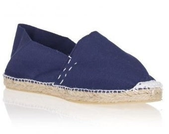 UNISEX ESPADRILLES FLATS - navy canvas - Made in Spain - ecologic, vegan, made in Europe
