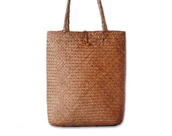 Light basket bag. 100% ecologic - 2cm x 38cm x 9cm  - MUMICO STRAW - handmade