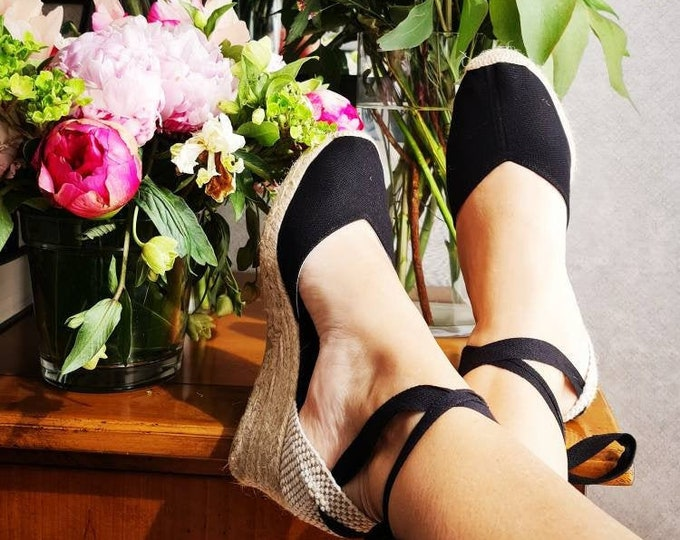 ESPADRILLES WEDGES - PUMPS - organic vegan sustainable - Lace Up  (7cm - 2.76i) - front stitching/ black canvas - Made in Spain - vegan