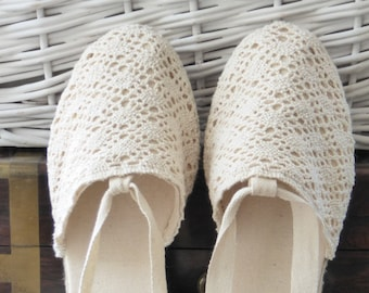 Lace-up ESPADRILLE MINIWEDGES - CROCHET collection - made in Spain - www.mumicospain.com