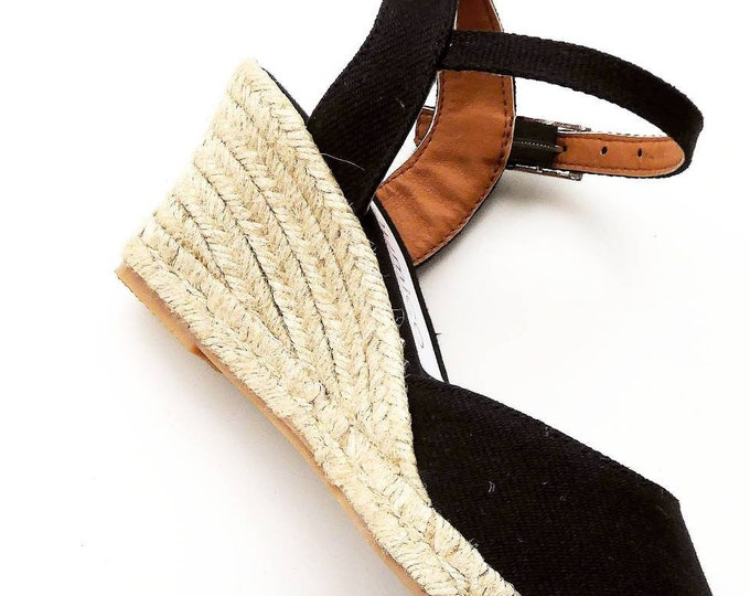 Featured listing image: Ankle strap espadrille wedges 7cm - NO STITCHING / BLACK - made in Spain - www.mumicospain.com