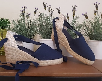 Lace Up Espadrille wedges (7cm-2.76i) - NO STITCHING / NAVY blue - Made In Spain - www.mumicospain.com