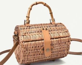 WICKER bag with bamboo handle - NATURAL, VEGAN - www.mumicospain.com