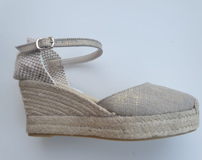 Featured listing image: ESPADRILLES WEDGES PLATFORM - Ankle strap espadrille wedges with platform - golden linen - made in Spain - organic sustainable fashion