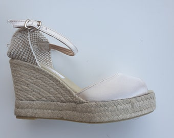 Beige Satin Ankle strap Espadrille Platform Wedges - peep toes - BRIDES COLLECTION- Made In Spain