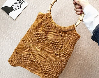 Wool handbag with bamboo handles. 31cm x 43cm x 4cm  - WOOL & BAMBOO HANDLE - handmade - www.mumicospain.com
