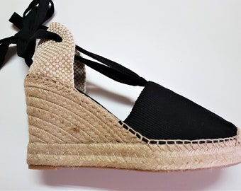 Lace Up espadrille high wedges with PLATFORM (10cm-3.94i) - VISIBLE SEAM / black - Made in Spain - www.mumicospain.com