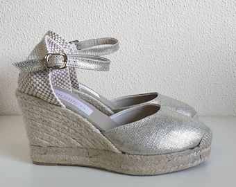 ESPADRILLES PLATFORM WEDGES - ankle strap - silver canvas - made in Spain - organic, ecologic, sustainable shoes