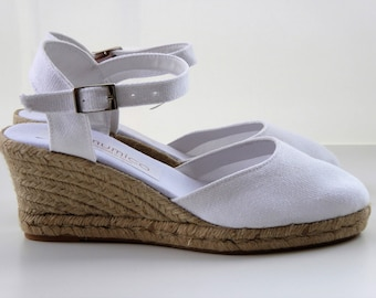 Ankle strap espadrille wedges - Bride collection - WHITE - made in Spain - www.mumicospain.com