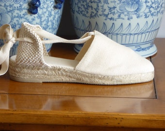 Lace-up Espadrille MINI WEDGES - IVORY - Made in Spain - www.mumicospain.com