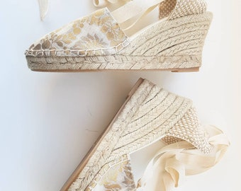 Lace-up ESPADRILLE WEDGES - SPECIAL Collection: golden leaves - made in Spain - www.mumicospain.com
