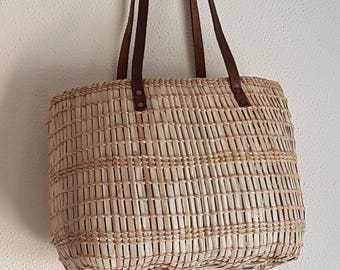 OUTLET - Oval palm bag with leather straps - STRAW BASKET bag - made in spain - www.mumicospain.com