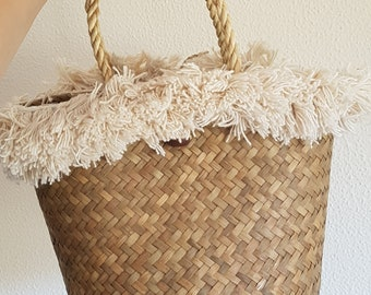 Straw basket handbag with cotton fringe trim -  FRINGE TRIM BASKET - made in Thailand
