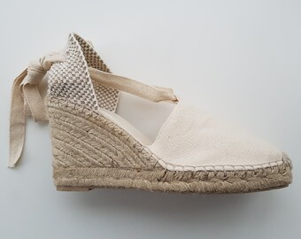 Lace Up espadrille shoes - high heel wedges - VISIBLE SEAM / IVORY - handmade in spain - comfy sturdy vegan sustainable eco-friendly
