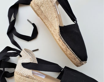 SALE: Lace up espadrille wedges - RUSTIC - visible seam BLACK - made in spain - www.mumicospain.com